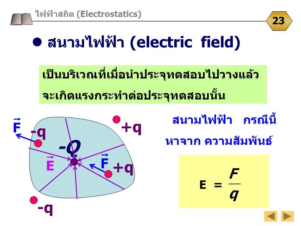 -Q E ไฟฟ้าสถิต (Electrostatics) 23 เป็นบริเวณที่เมื่อนำประจุทดสอบไปวางแล้ว จะเกิดแรงกระทำต่อประจุทดสอบนั้น -q +q F F สนามไฟฟ้า กรณีนี้ หาจาก ความสัมพั