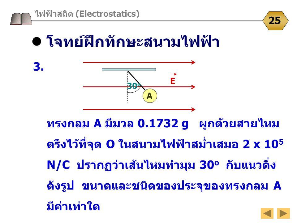 โจทย์ฝึกทักษะสนามไฟฟ้า ไฟฟ้าสถิต (Electrostatics) 25 3. ทรงกลม A มีมวล 0.1732 g ผูกด้วยสายไหม ตรึงไว้ที่จุด O ในสนามไฟฟ้าสม่ำเสมอ 2 x 10 5 N/C ปรากฏว่