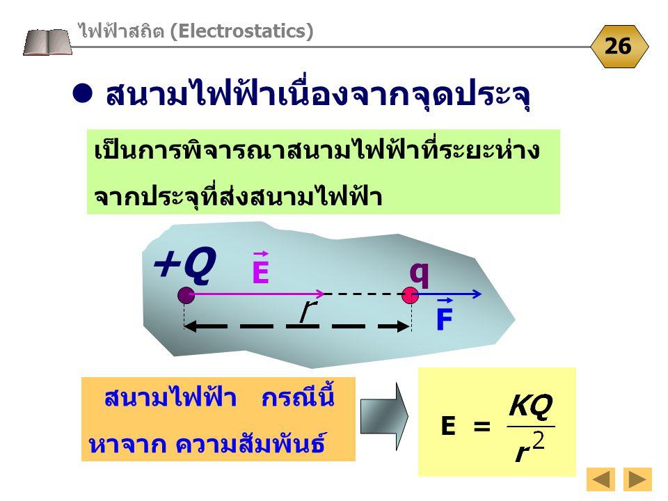 +Q ไฟฟ้าสถิต (Electrostatics) 26 เป็นการพิจารณาสนามไฟฟ้าที่ระยะห่าง จากประจุที่ส่งสนามไฟฟ้า q สนามไฟฟ้าเนื่องจากจุดประจุ F E สนามไฟฟ้า กรณีนี้ หาจาก ค