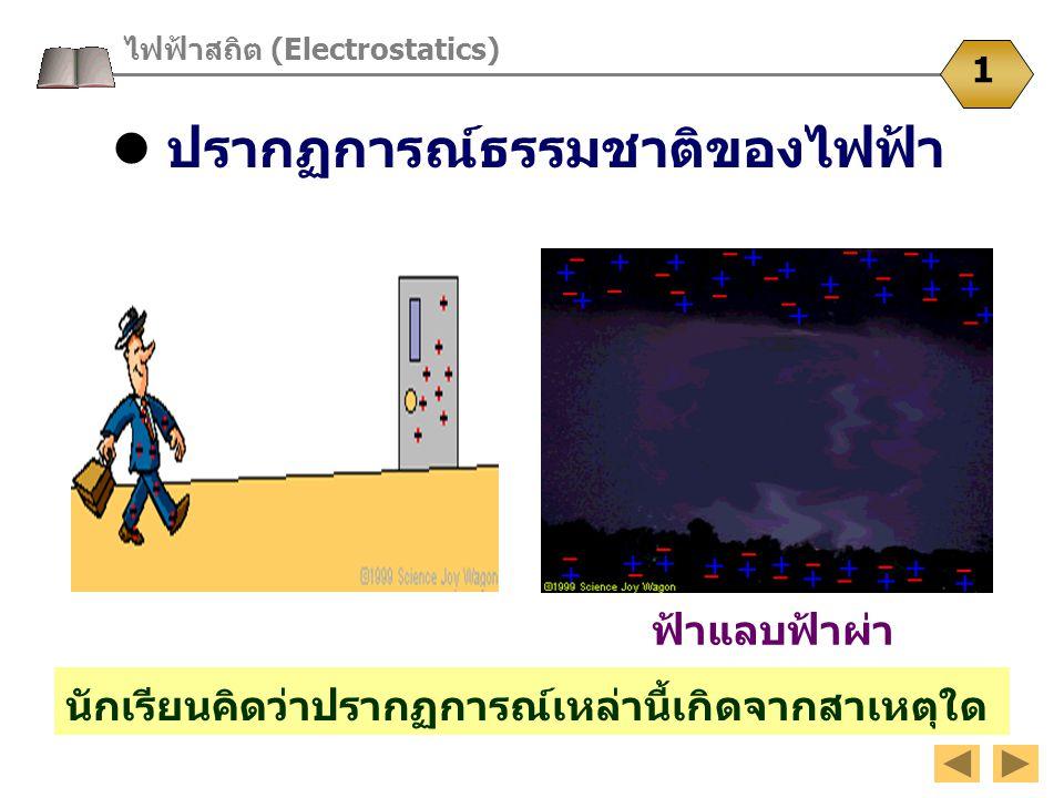 ปรากฏการณ์ธรรมชาติของไฟฟ้า นักเรียนคิดว่าปรากฏการณ์เหล่านี้เกิดจากสาเหตุใด ไฟฟ้าสถิต (Electrostatics) 1 ฟ้าแลบฟ้าผ่า
