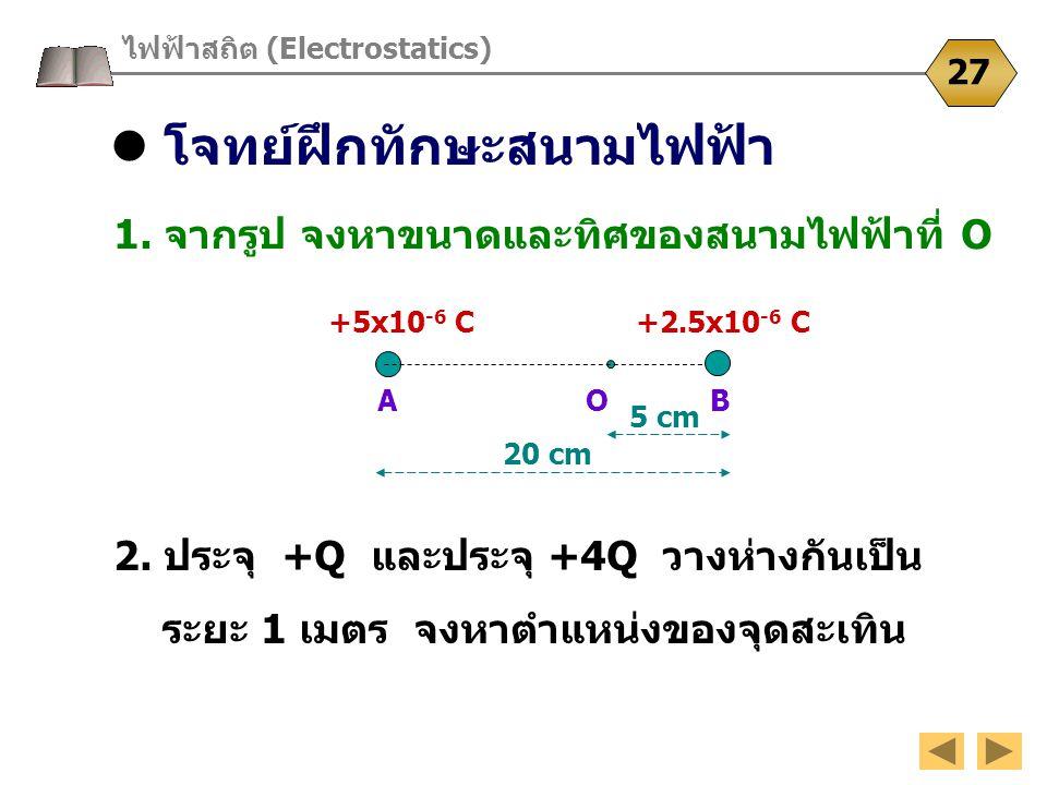 โจทย์ฝึกทักษะสนามไฟฟ้า ไฟฟ้าสถิต (Electrostatics) 27 1. จากรูป จงหาขนาดและทิศของสนามไฟฟ้าที่ O 2. ประจุ +Q และประจุ +4Q วางห่างกันเป็น ระยะ 1 เมตร จงห