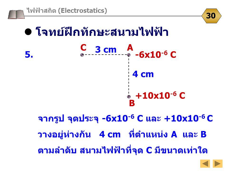 โจทย์ฝึกทักษะสนามไฟฟ้า ไฟฟ้าสถิต (Electrostatics) 30 5. จากรูป จุดประจุ -6x10 -6 C และ +10x10 -6 C วางอยู่ห่างกัน 4 cm ที่ตำแหน่ง A และ B ตามลำดับ สนา