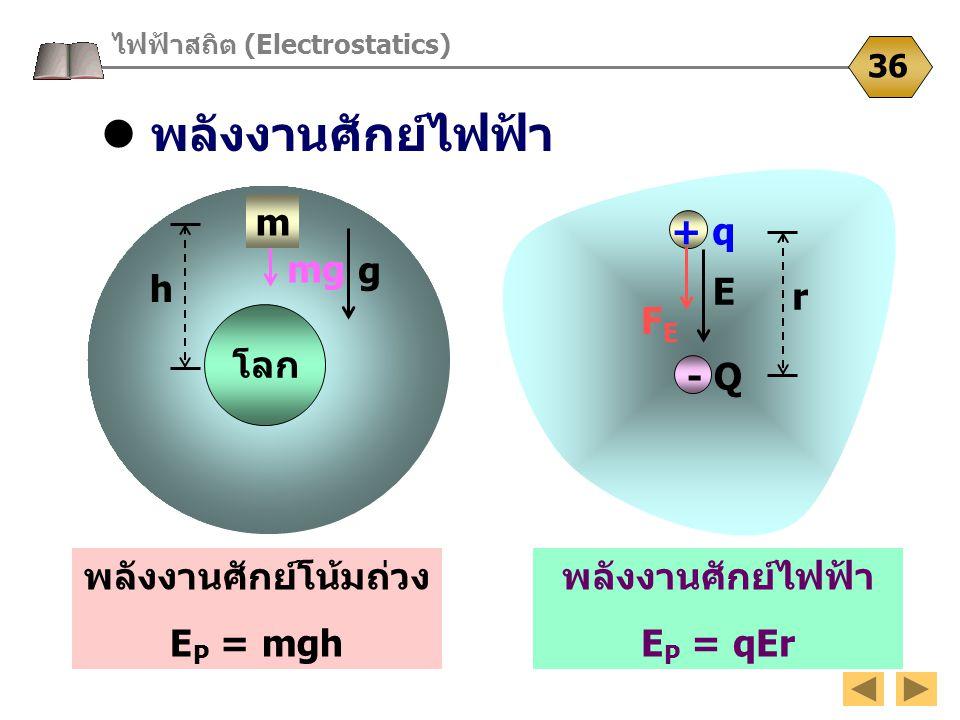 E g พลังงานศักย์ไฟฟ้า ไฟฟ้าสถิต (Electrostatics) 36 โลก m h พลังงานศักย์โน้มถ่วง E P = mgh - Q + q r FEFE พลังงานศักย์ไฟฟ้า E P = qEr mg