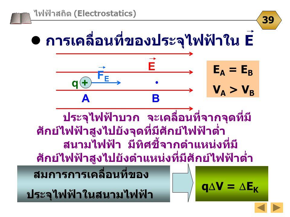 การเคลื่อนที่ของประจุไฟฟ้าใน E ไฟฟ้าสถิต (Electrostatics) 39 ประจุไฟฟ้าบวก จะเคลื่อนที่จากจุดที่มี ศักย์ไฟฟ้าสูงไปยังจุดที่มีศักย์ไฟฟ้าต่ำ สนามไฟฟ้า ม