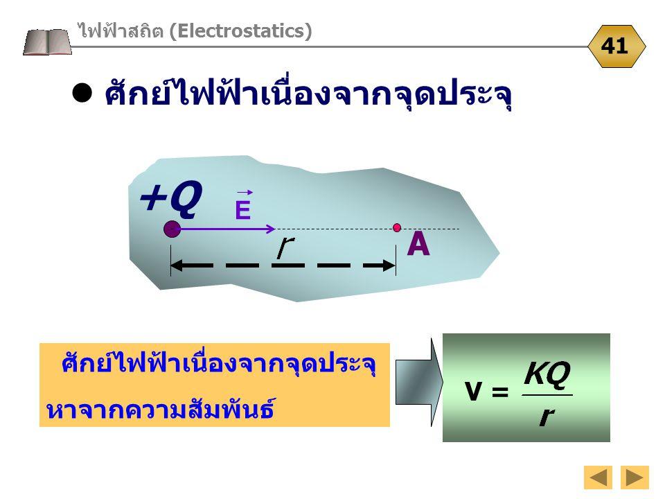 ศักย์ไฟฟ้าเนื่องจากจุดประจุ ไฟฟ้าสถิต (Electrostatics) 41 +Q A E ศักย์ไฟฟ้าเนื่องจากจุดประจุ หาจากความสัมพันธ์ V =