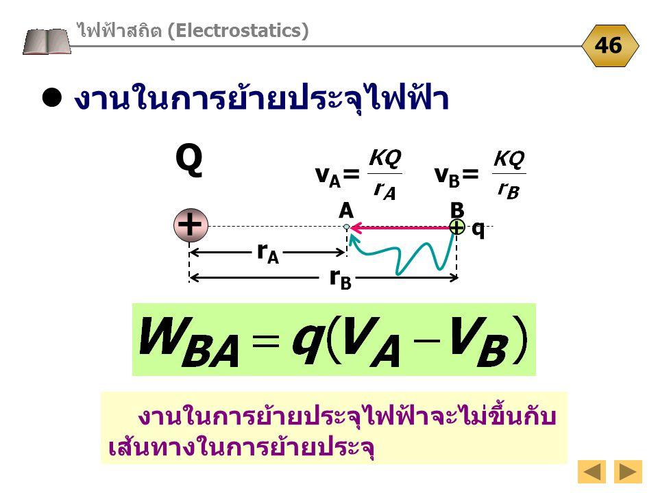 งานในการย้ายประจุไฟฟ้า ไฟฟ้าสถิต (Electrostatics) 46 งานในการย้ายประจุไฟฟ้าจะไม่ขึ้นกับ เส้นทางในการย้ายประจุ Q+Q+ vA=vA= rArA A B rBrB vB=vB= + q