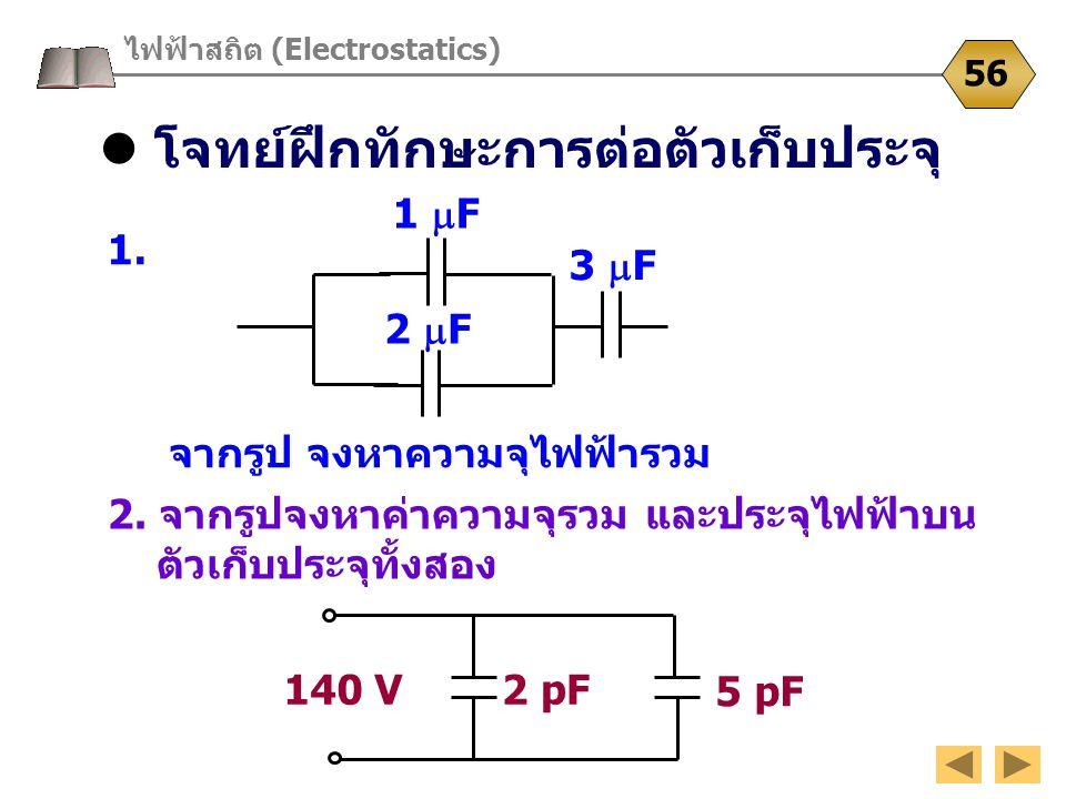โจทย์ฝึกทักษะการต่อตัวเก็บประจุ ไฟฟ้าสถิต (Electrostatics) 56 1. จากรูป จงหาความจุไฟฟ้ารวม 1  F 2  F 3  F 2. จากรูปจงหาค่าความจุรวม และประจุไฟฟ้าบน