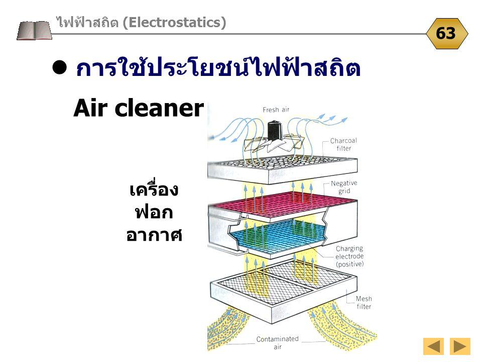 การใช้ประโยชน์ไฟฟ้าสถิต ไฟฟ้าสถิต (Electrostatics) 63 Air cleaner เครื่อง ฟอก อากาศ