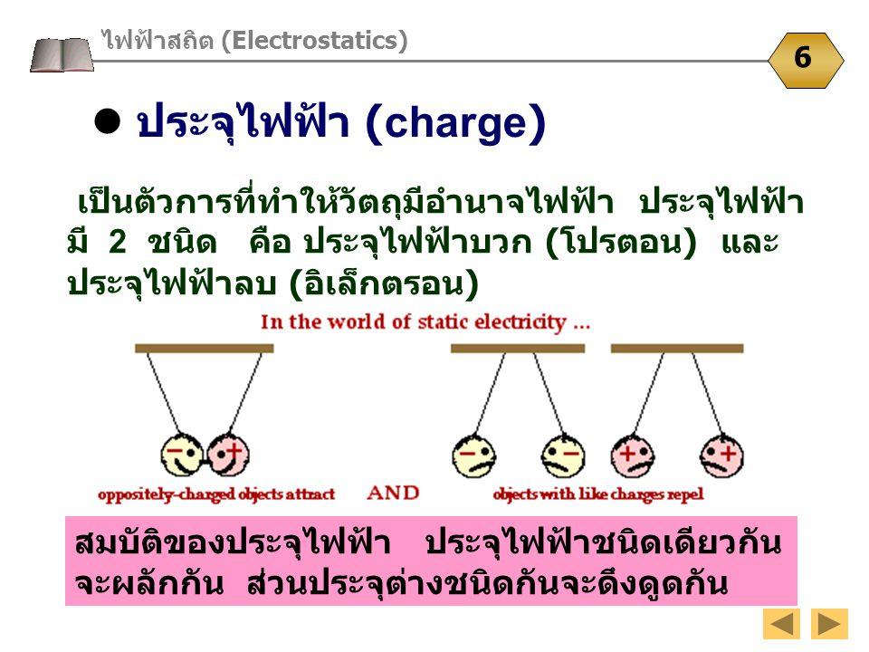 ประจุไฟฟ้า (charge) ไฟฟ้าสถิต (Electrostatics) 6 เป็นตัวการที่ทำให้วัตถุมีอำนาจไฟฟ้า ประจุไฟฟ้า มี 2 ชนิด คือ ประจุไฟฟ้าบวก ( โปรตอน ) และ ประจุไฟฟ้าล