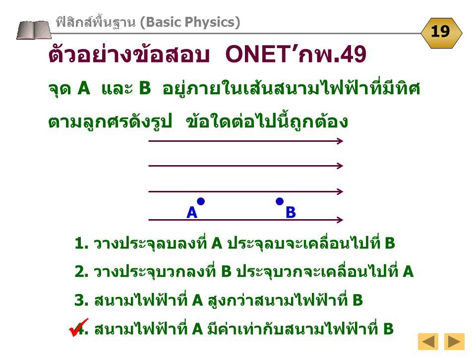 ฟิสิกส์พื้นฐาน (Basic Physics) 19 ตัวอย่างข้อสอบ ONET 'กพ.49 จุด A และ B อยู่ภายในเส้นสนามไฟฟ้าที่มีทิศ ตามลูกศรดังรูป ข้อใดต่อไปนี้ถูกต้อง 1. วางประจ