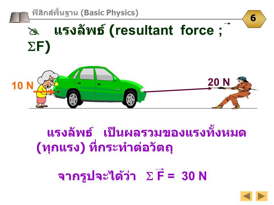 20 N 10 N ฟิสิกส์พื้นฐาน (Basic Physics) 6  แรงลัพธ์ (resultant force ;  F) แรงลัพธ์ เป็นผลรวมของแรงทั้งหมด ( ทุกแรง ) ที่กระทำต่อวัตถุ จากรูปจะได้ว