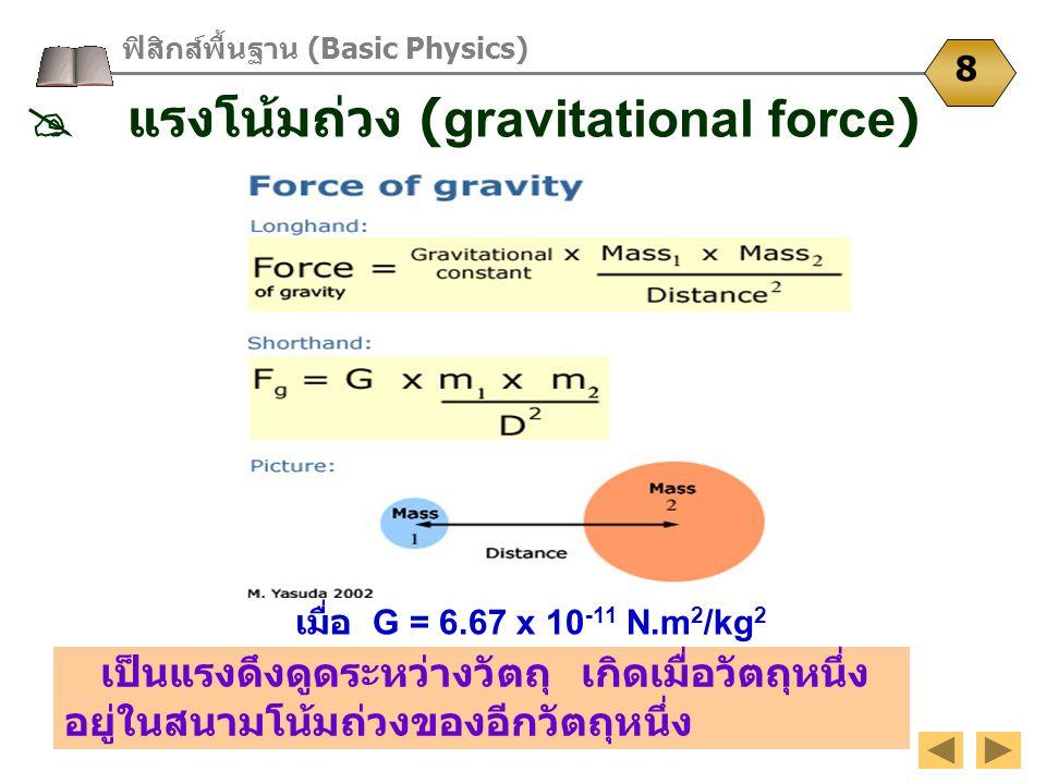 เป็นแรงดึงดูดระหว่างวัตถุ เกิดเมื่อวัตถุหนึ่ง อยู่ในสนามโน้มถ่วงของอีกวัตถุหนึ่ง ฟิสิกส์พื้นฐาน (Basic Physics) 8  แรงโน้มถ่วง (gravitational force)