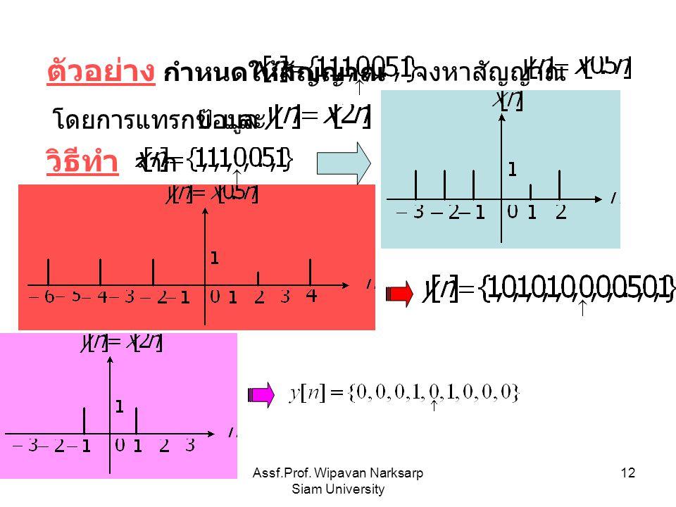 Assf.Prof. Wipavan Narksarp Siam University 12 ตัวอย่าง กำหนดให้สัญญาณ จงหาสัญญาณ โดยการแทรกข้อมูลและ วิธีทำ จาก