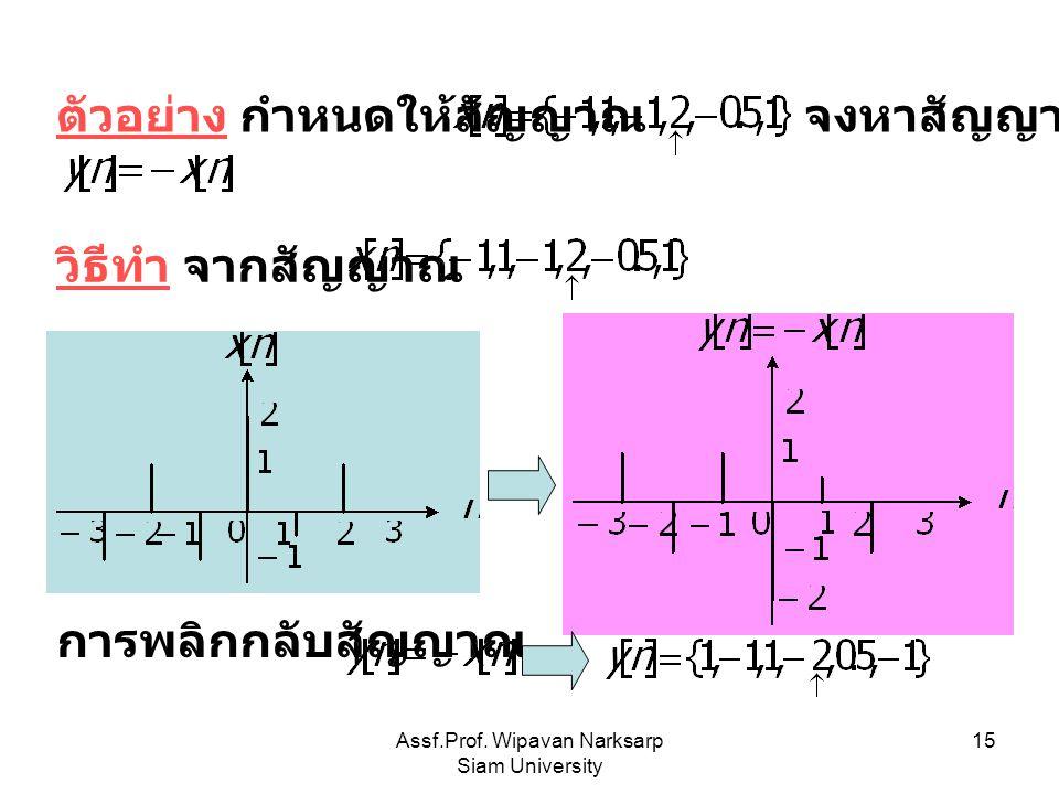 Assf.Prof. Wipavan Narksarp Siam University 15 ตัวอย่าง กำหนดให้สัญญาณ จงหาสัญญาณ วิธีทำ จากสัญญาณ การพลิกกลับสัญญาณ