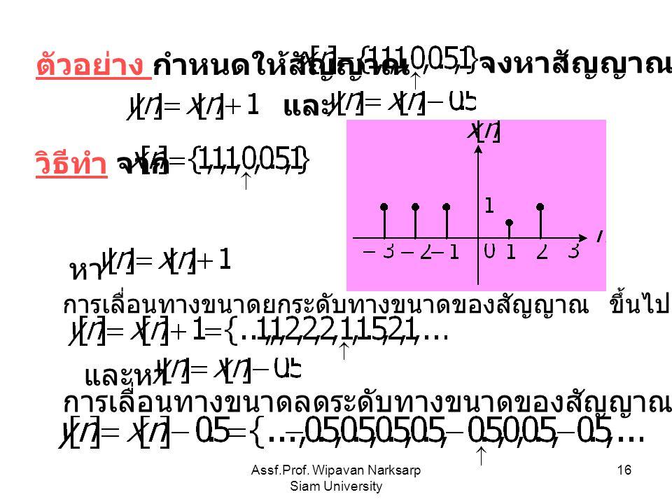 Assf.Prof. Wipavan Narksarp Siam University 16 ตัวอย่าง กำหนดให้สัญญาณ จงหาสัญญาณ และ วิธีทำ จาก การเลื่อนทางขนาดยกระดับทางขนาดของสัญญาณ ขึ้นไป 1 หน่ว