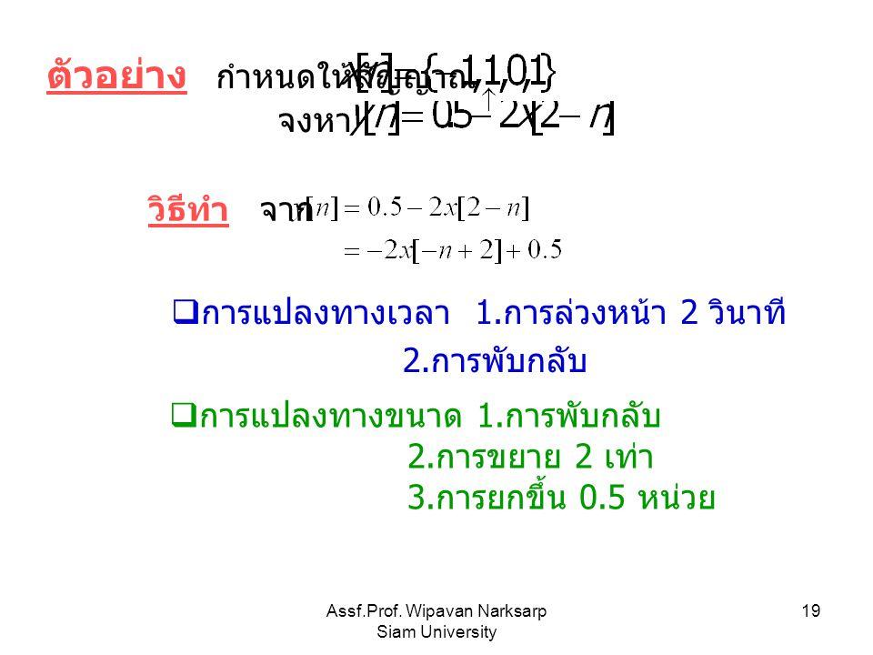 Assf.Prof. Wipavan Narksarp Siam University 19 ตัวอย่าง กำหนดให้สัญญาณ จงหา วิธีทำ จาก  การแปลงทางเวลา 1. การล่วงหน้า 2 วินาที 2. การพับกลับ  การแปล