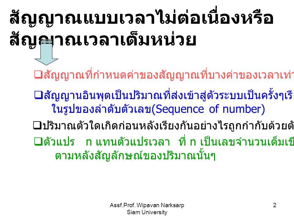Assf.Prof. Wipavan Narksarp Siam University 2 สัญญาณแบบเวลาไม่ต่อเนื่องหรือ สัญญาณเวลาเต็มหน่วย  สัญญาณที่กำหนดค่าของสัญญาณที่บางค่าของเวลาเท่านั้น 