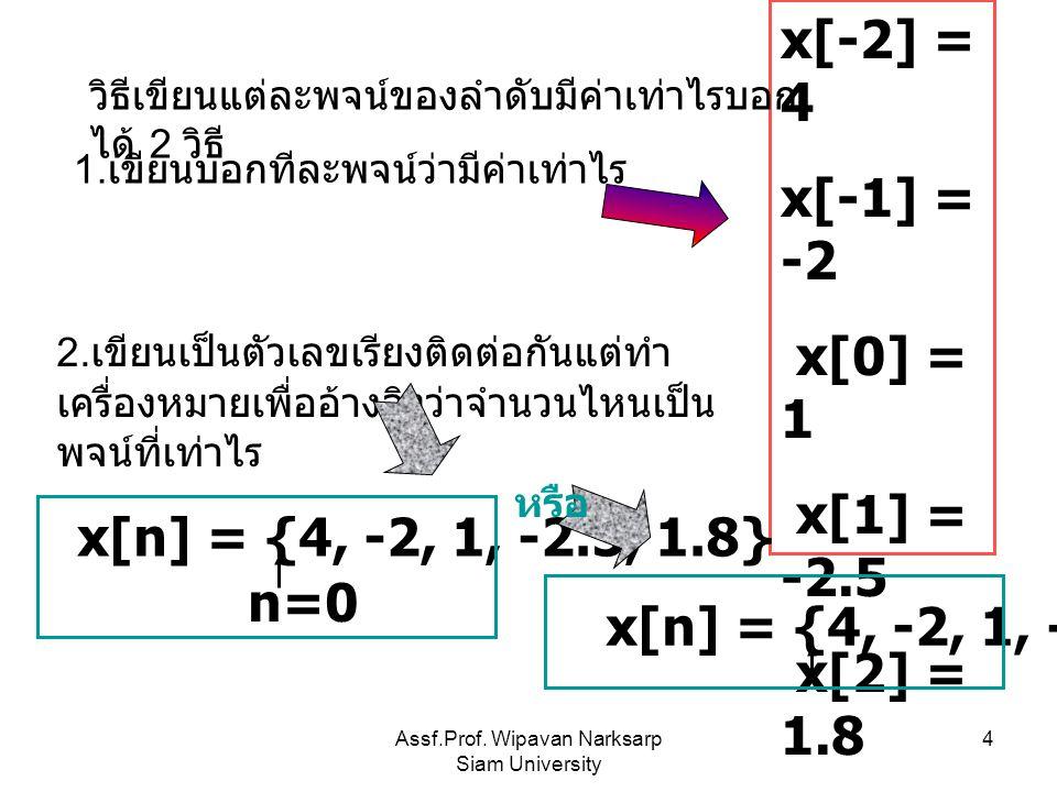 Assf.Prof. Wipavan Narksarp Siam University 4 x[-2] = 4 x[-1] = -2 x[0] = 1 x[1] = -2.5 x[2] = 1.8 … วิธีเขียนแต่ละพจน์ของลำดับมีค่าเท่าไรบอก ได้ 2 วิ