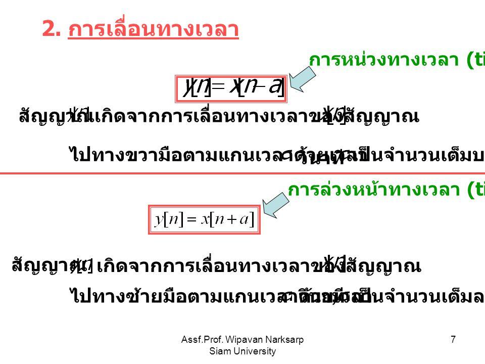 Assf.Prof. Wipavan Narksarp Siam University 7 2. การเลื่อนทางเวลา เกิดจากการเลื่อนทางเวลาของสัญญาณ ไปทางขวามือตามแกนเวลาด้วยเวลา วินาที, สัญญาณ การหน่