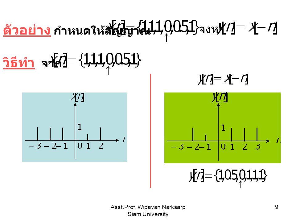 Assf.Prof. Wipavan Narksarp Siam University 10 ตัวอย่าง กำหนดให้สัญญาณ จงหาสัญญาณ วิธีทำ