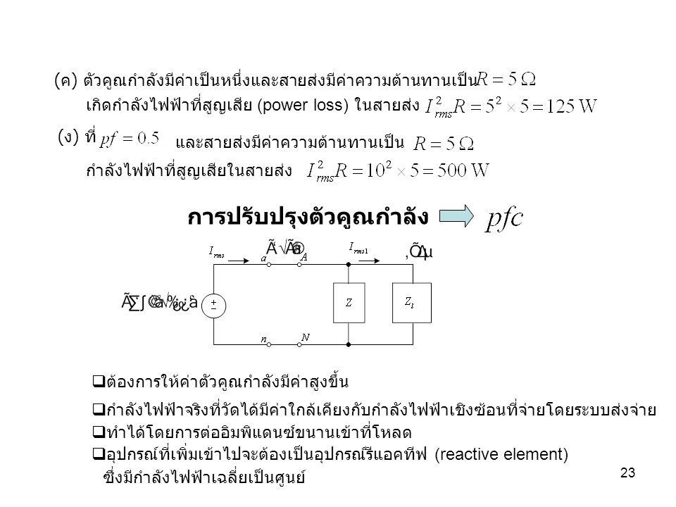 23 (ค) ตัวคูณกำลังมีค่าเป็นหนึ่งและสายส่งมีค่าความต้านทานเป็น (ง) ที่ และสายส่งมีค่าความต้านทานเป็น เกิดกำลังไฟฟ้าที่สูญเสีย (power loss) ในสายส่ง กำล
