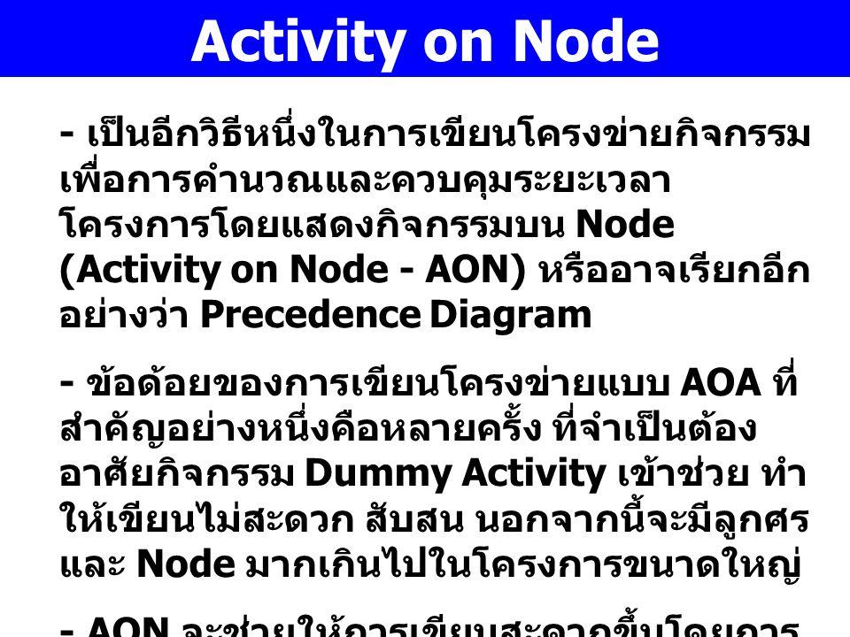 Activity on Node - เป็นอีกวิธีหนึ่งในการเขียนโครงข่ายกิจกรรม เพื่อการคำนวณและควบคุมระยะเวลา โครงการโดยแสดงกิจกรรมบน Node (Activity on Node - AON) หรือ