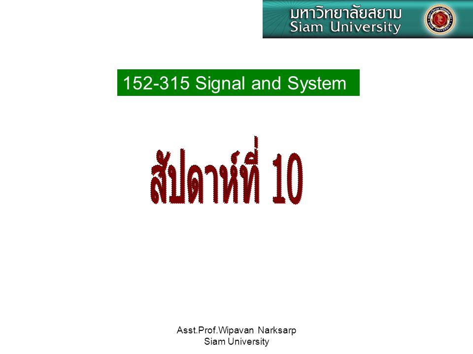 Asst.Prof.Wipavan Narksarp Siam University  สัญญาณขั้นบันไดหนึ่งหน่วย (unit step signal) เป็นเสมือนทำการสุ่มทุกๆช่วงเวลาวินาทีจาก