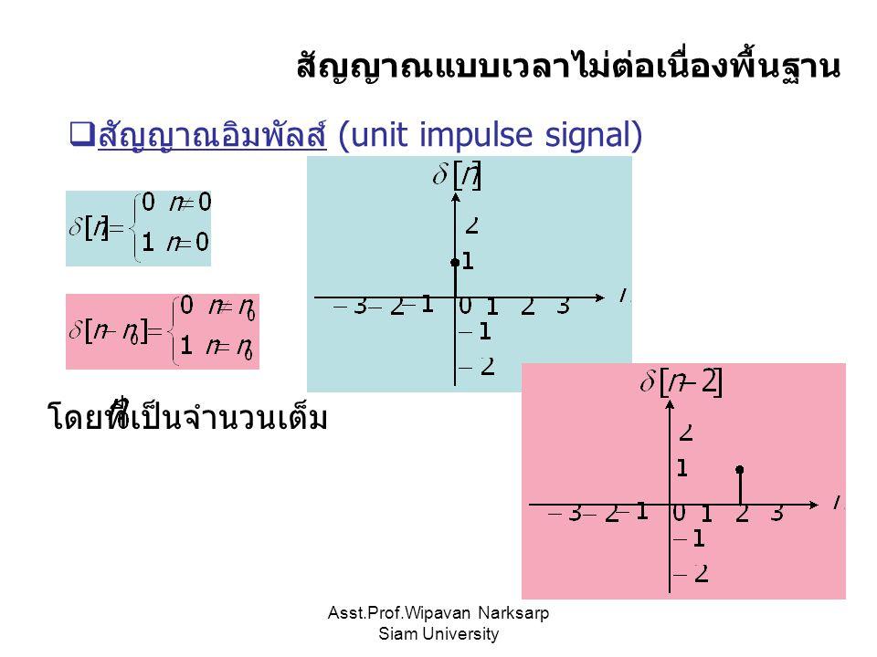 Asst.Prof.Wipavan Narksarp Siam University สัญญาณแบบเวลาไม่ต่อเนื่องพื้นฐาน  สัญญาณอิมพัลส์ (unit impulse signal) โดยที่เป็นจำนวนเต็ม