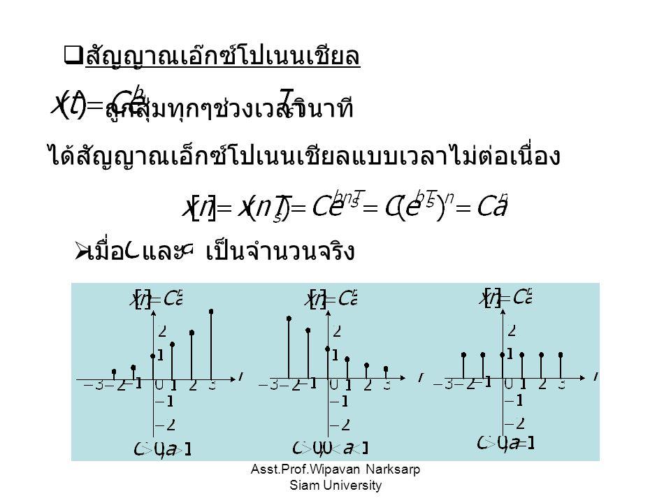 Asst.Prof.Wipavan Narksarp Siam University  สัญญาณเอ๊กซ์โปเนนเชียล ถูกสุ่มทุกๆช่วงเวลา ได้สัญญาณเอ็กซ์โปเนนเชียลแบบเวลาไม่ต่อเนื่อง วินาที เป็นจำนวนจริงและ  เมื่อ