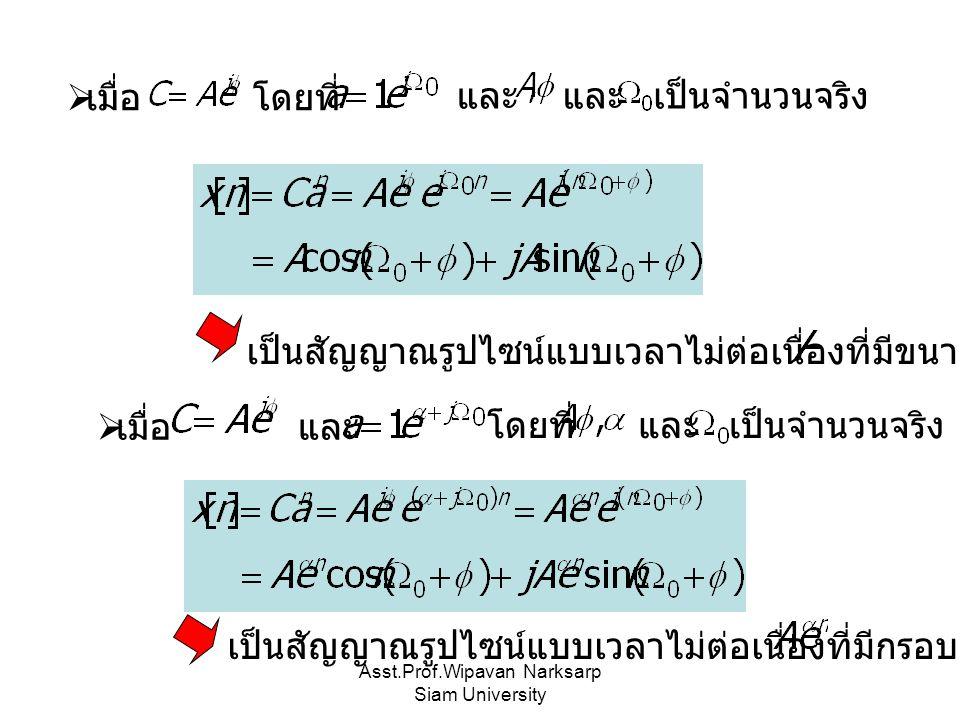 Asst.Prof.Wipavan Narksarp Siam University  เมื่อ โดยที่ และ เป็นจำนวนจริง และ เป็นสัญญาณรูปไซน์แบบเวลาไม่ต่อเนื่องที่มีขนาดเป็น  เมื่อ และ โดยที่ และ เป็นจำนวนจริง เป็นสัญญาณรูปไซน์แบบเวลาไม่ต่อเนื่องที่มีกรอบเป็น
