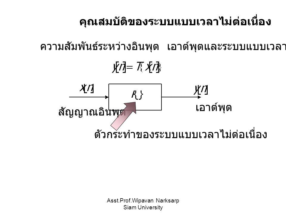 Asst.Prof.Wipavan Narksarp Siam University คุณสมบัติของระบบแบบเวลาไม่ต่อเนื่อง ความสัมพันธ์ระหว่างอินพุต เอาต์พุตและระบบแบบเวลาไม่ต่อเนื่อง ตัวกระทำของระบบแบบเวลาไม่ต่อเนื่อง สัญญาณอินพุต เอาต์พุต