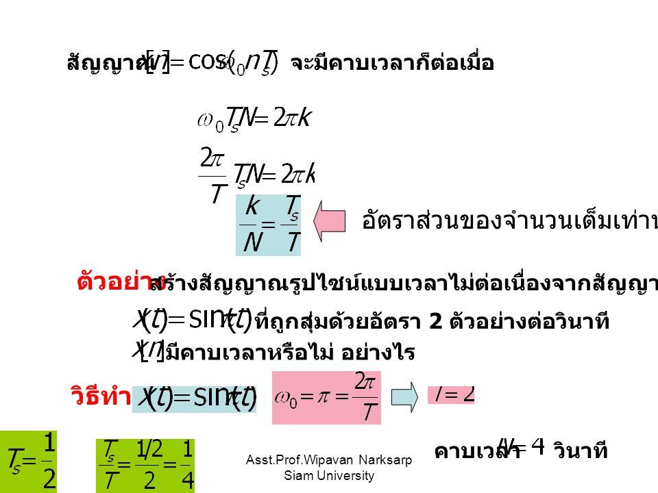 Asst.Prof.Wipavan Narksarp Siam University สัญญาณ จะมีคาบเวลาก็ต่อเมื่อ อัตราส่วนของจำนวนเต็มเท่านั้น ที่ถูกสุ่มด้วยอัตรา 2 ตัวอย่างต่อวินาที มีคาบเวลาหรือไม่ อย่างไร ตัวอย่าง สร้างสัญญาณรูปไซน์แบบเวลาไม่ต่อเนื่องจากสัญญาณรูปไซน์แบบเวลาต่อเนื่อง วิธีทำ คาบเวลา วินาที