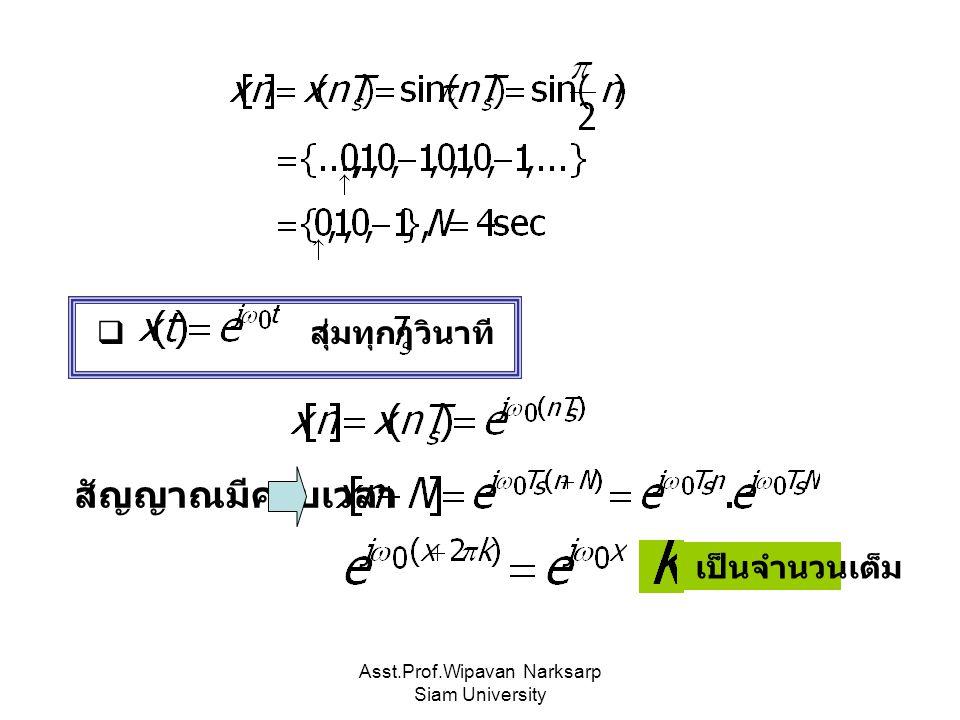 Asst.Prof.Wipavan Narksarp Siam University  สุ่มทุกๆ วินาที สัญญาณมีคาบเวลา เป็นจำนวนเต็ม