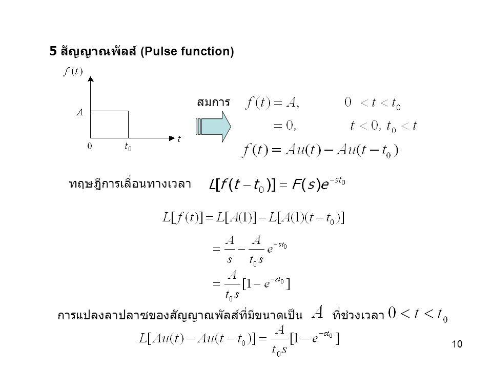 10 5 สัญญาณพัลส์ (Pulse function) สมการ ทฤษฎีการเลื่อนทางเวลา การแปลงลาปลาซของสัญญาณพัลส์ที่มีขนาดเป็นที่ช่วงเวลา