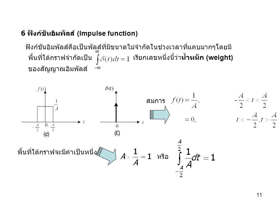 11 6 ฟังก์ชันอิมพัลส์ (Impulse function) หรือ สมการ พื้นที่ใต้กราฟจะมีค่าเป็นหนึ่ง ฟังก์ชันอิมพัลส์คือเป็นพัลส์ที่มีขนาดไม่จำกัดในช่วงเวลาที่แคบมากๆโดยมี ของสัญญาณอิมพัลส์ เรียกเลขหนึ่งนี้ว่าน้ำหนัก (weight) พื้นที่ใต้กราฟจำกัดเป็น