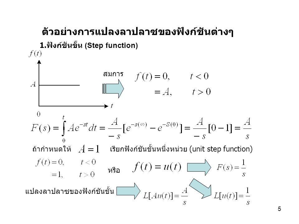 6 2. ฟังก์ชันเอ๊กซ์โปเนนเชียล (Exponential Function) สมการ การแปลงลาปลาซของฟังก์ชันเอ๊กซ์โปเนนเชียล