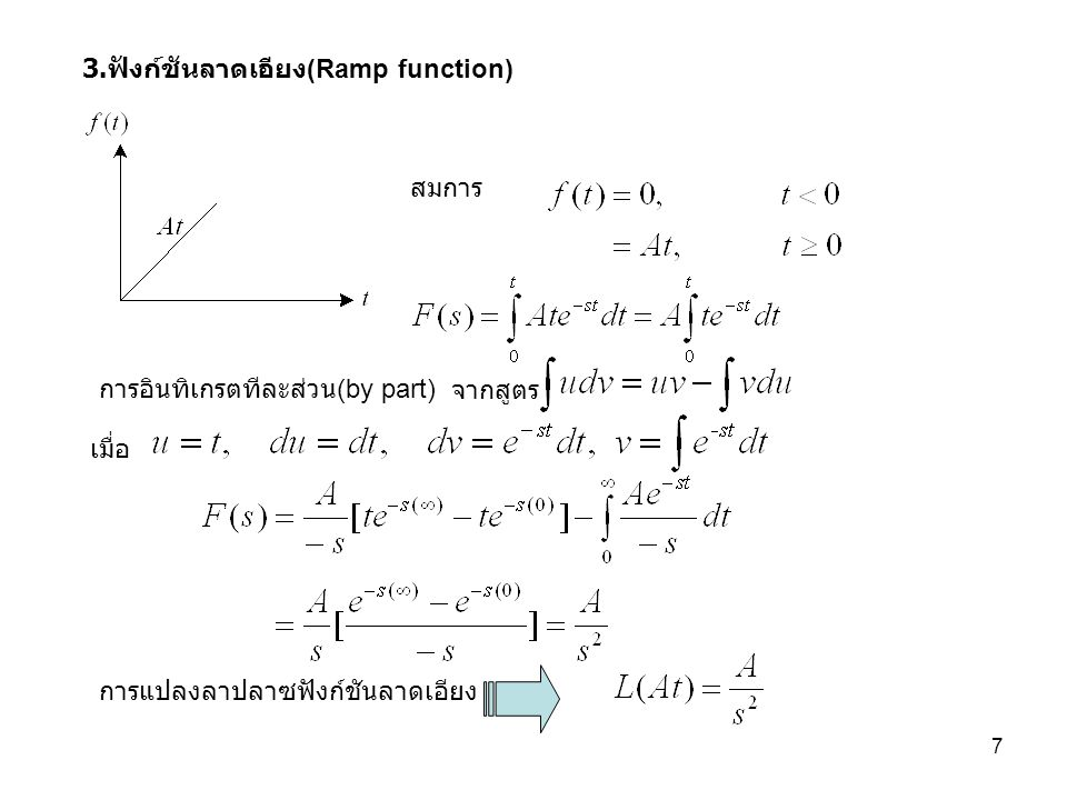 18 การอินทิเกรทฟังก์ชันที่แปรตามเวลา ฟังก์ชันที่กำหนดให้เงื่อนไขเริ่มต้นเป็นศูนย์ ทฤษฎีค่าเริ่มต้น ทฤษฎีค่าสุดท้าย การเลื่อนทางเวลา