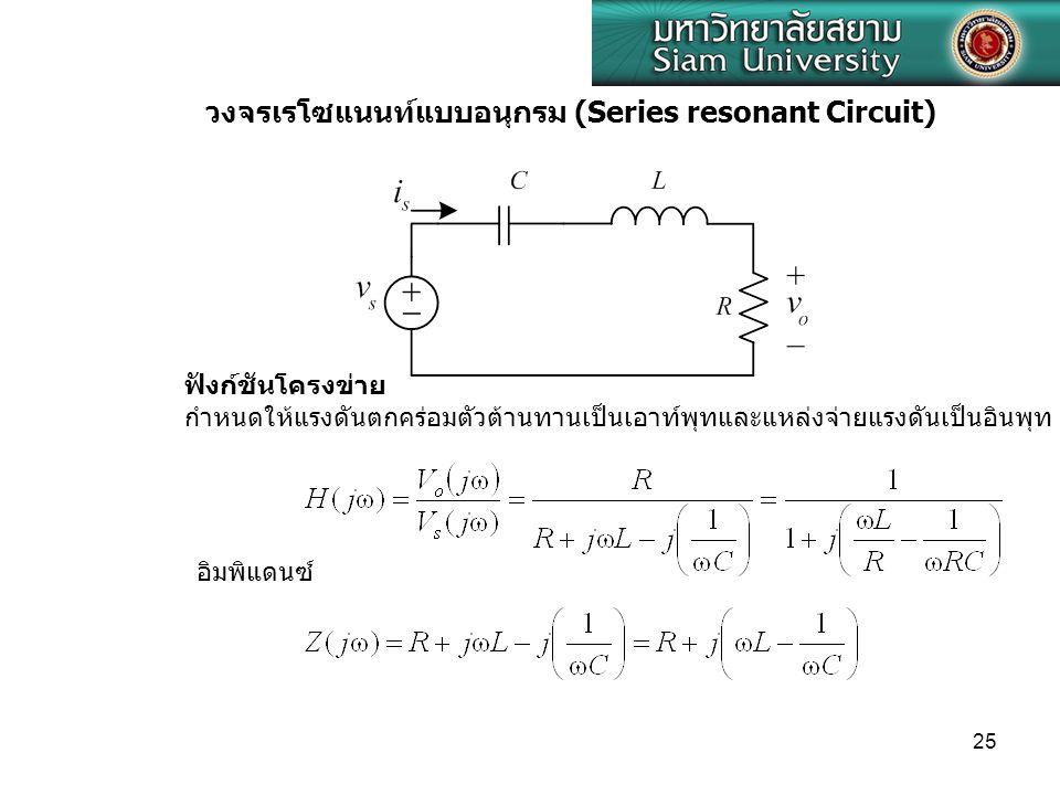 25 วงจรเรโซแนนท์แบบอนุกรม (Series resonant Circuit) ฟังก์ชันโครงข่าย กำหนดให้แรงดันตกคร่อมตัวต้านทานเป็นเอาท์พุทและแหล่งจ่ายแรงดันเป็นอินพุท อิมพิแดนซ์