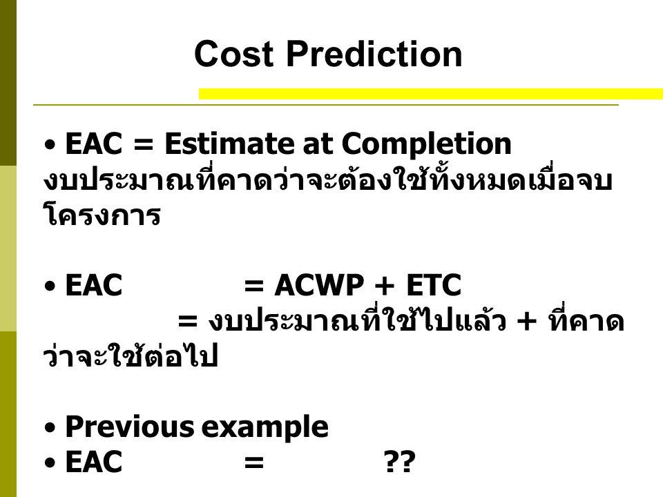 Cost Prediction EAC = Estimate at Completion งบประมาณที่คาดว่าจะต้องใช้ทั้งหมดเมื่อจบ โครงการ EAC= ACWP + ETC = งบประมาณที่ใช้ไปแล้ว + ที่คาด ว่าจะใช้ต่อไป Previous example EAC= ??