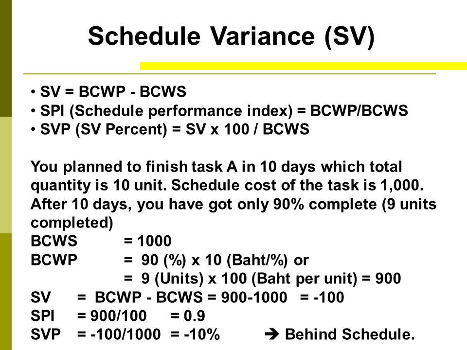Schedule Variance (SV) SV = -100 SPI= 0.9 SVP= -10%  Behind Schedule.