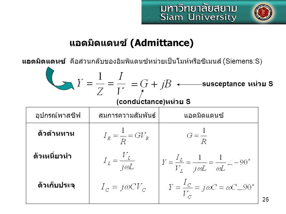 25 แอดมิดแดนซ์ คือส่วนกลับของอิมพิแดนซ์หน่วยเป็นโมห์หรือซีเมนส์ (Siemens:S) แอดมิดแดนซ์ (Admittance) (conductance) หน่วย S susceptance หน่วย S ตัวต้านทาน ตัวเหนี่ยวนำ ตัวเก็บประจุ อุปกรณ์พาสซีฟสมการความสัมพันธ์แอดมิดแดนซ์