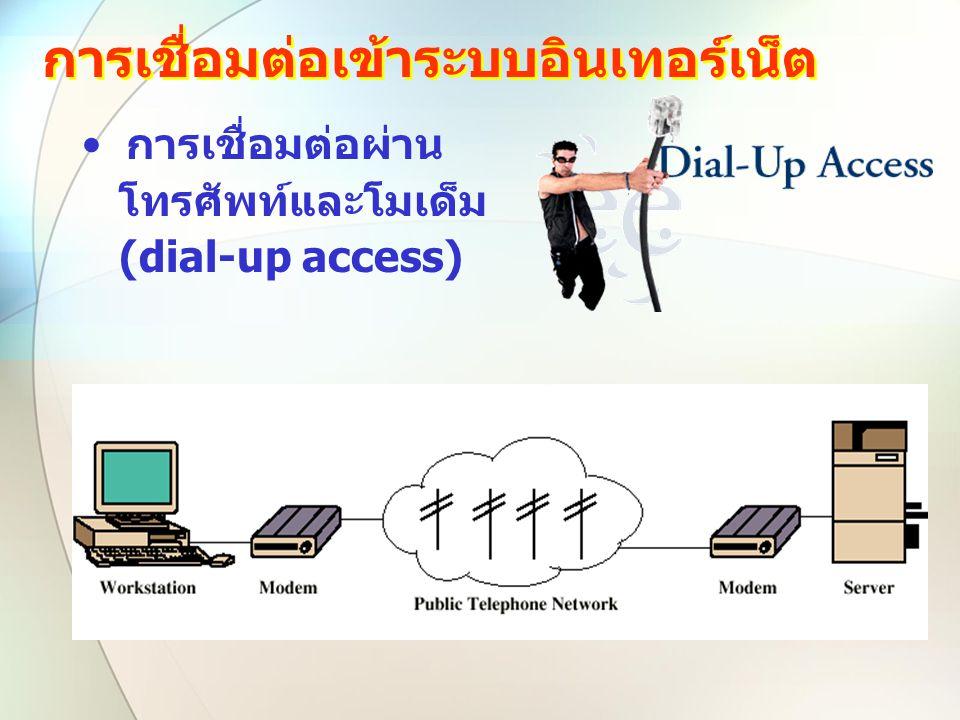 การเชื่อมต่อเข้าระบบอินเทอร์เน็ต การเชื่อมต่อผ่าน โทรศัพท์และโมเด็ม (dial-up access)