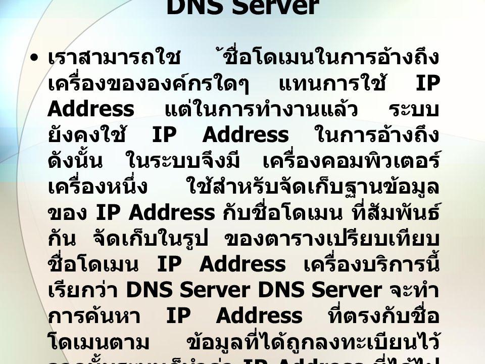 DNS Server เราสามารถใช ้ชื่อโดเมนในการอ้างถึง เครื่องขององค์กรใดๆ แทนการใช้ IP Address แต่ในการทำงานแล้ว ระบบ ยังคงใช้ IP Address ในการอ้างถึง ดังนั้น