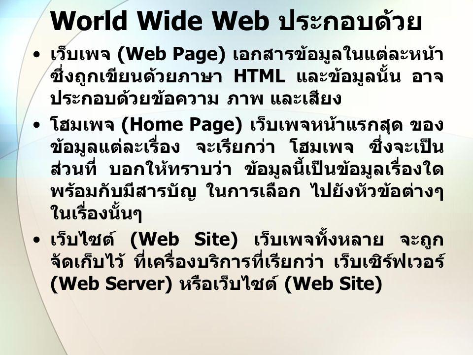 World Wide Web ประกอบด้วย เว็บเพจ (Web Page) เอกสารข้อมูลในแต่ละหน้า ซึ่งถูกเขียนด้วยภาษา HTML และข้อมูลนั้น อาจ ประกอบด้วยข้อความ ภาพ และเสียง โฮมเพจ