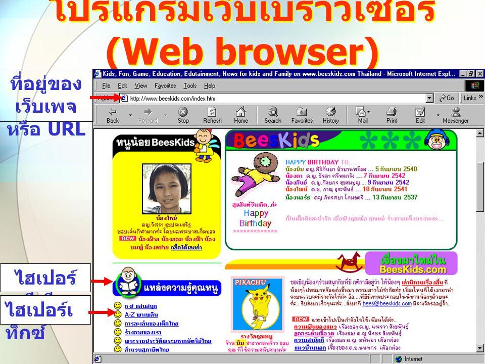 โปรแกรมเว็บเบราว์เซอร์ (Web browser) ที่อยู่ของ เว็บเพจ หรือ URL ไฮเปอร์ มีเดีย ไฮเปอร์เ ท็กซ์