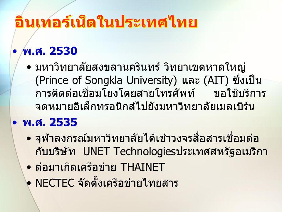 อินเทอร์เน็ตในประเทศไทย พ.ศ. 2530 มหาวิทยาลัยสงขลานครินทร์ วิทยาเขตหาดใหญ่ (Prince of Songkla University) และ (AIT) ซึ่งเป็น การติดต่อเชื่อมโยงโดยสายโ