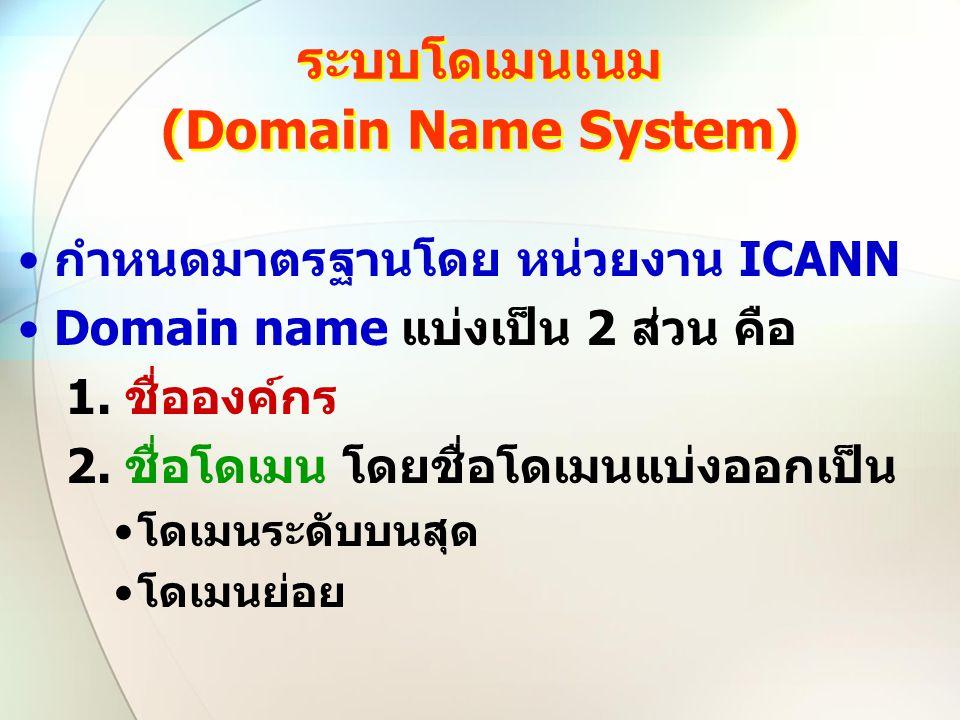ระบบโดเมนเนม (Domain Name System) กำหนดมาตรฐานโดย หน่วยงาน ICANN Domain name แบ่งเป็น 2 ส่วน คือ 1. ชื่อองค์กร 2. ชื่อโดเมน โดยชื่อโดเมนแบ่งออกเป็น โด