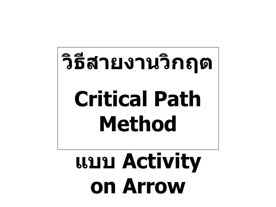 วิธีสายงานวิกฤต Critical Path Method แบบ Activity on Arrow