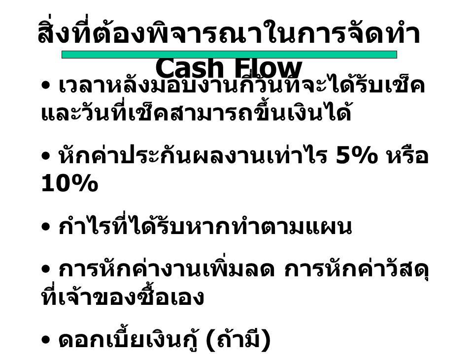 สิ่งที่ต้องพิจารณาในการจัดทำ Cash Flow เวลาหลังมอบงานกี่วันที่จะได้รับเช็ค และวันที่เช็คสามารถขึ้นเงินได้ หักค่าประกันผลงานเท่าไร 5% หรือ 10% กำไรที่ไ