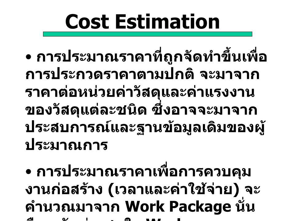 Cost Estimation การประมาณราคาที่ถูกจัดทำขึ้นเพื่อ การประกวดราคาตามปกติ จะมาจาก ราคาต่อหน่วยค่าวัสดุและค่าแรงงาน ของวัสดุแต่ละชนิด ซึ่งอาจจะมาจาก ประสบ